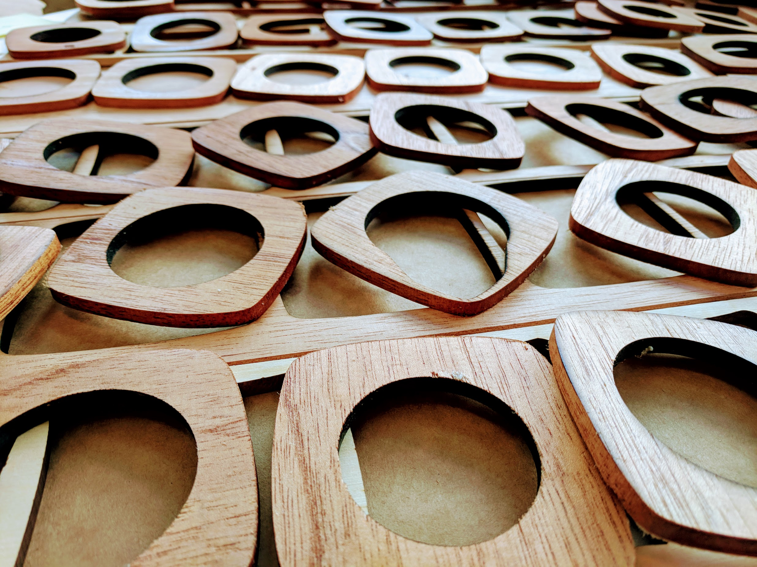 close up of Botanica wooden pieces laid out on table