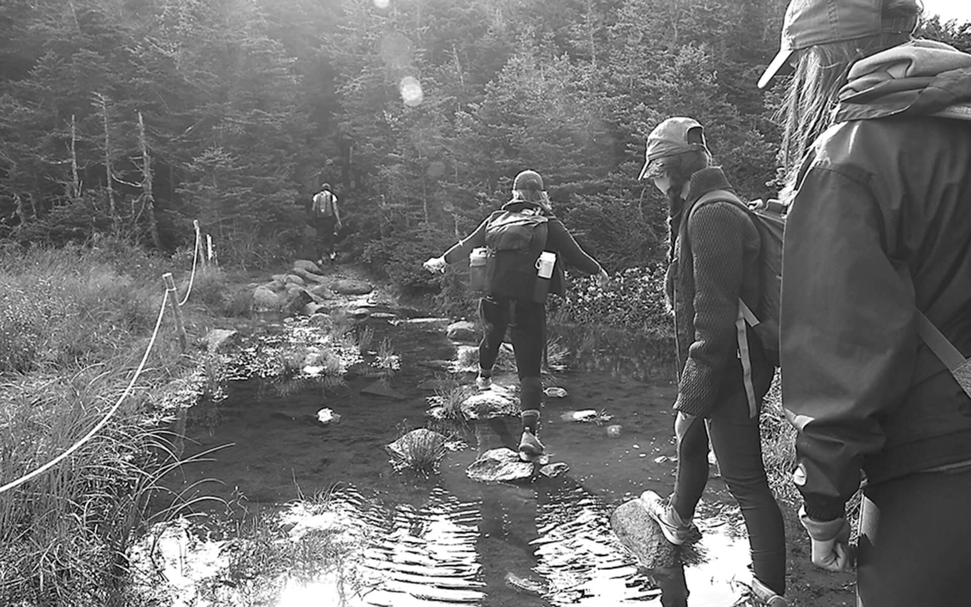 IDM students walking across a river in New Hampshire